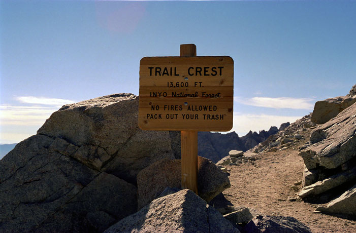 Mount Whitney Trail Crest Sign